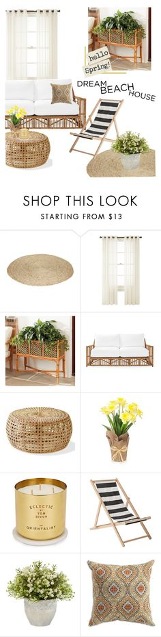 """Dream beach house"" by vivistyle21 ❤ liked on Polyvore featuring interior, interiors, interior design, home, home decor, interior decorating, Royal Velvet, Ballard Designs, Serena & Lily and Tom Dixon"
