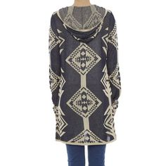 Aztec Hooded Open Cardigan, Navy/Taupe, Large in color Navy.