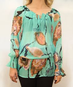 Love this Aqua Sheer Floral Feather Peasant Top - Women on #zulily! #zulilyfinds