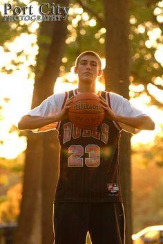 Senior photo with basketball
