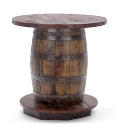 Old Fitz Reclaimed Whiskey Barrel Table. Much closer to what I want. Top needs to be different. Bourbon Barrel Table, Barrel Coffee Table, Barrel Bar, Whiskey Barrels, Barrel Table Diy, Barrel Projects, Wine Barrel Furniture, Rustic Patio, Pine Table