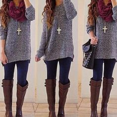 Cute winter outfit - I saw a sweater just like this at Meijer with a chiffon back panel. Uh oh. Might have to snag it!