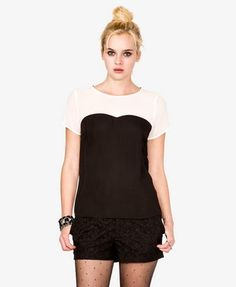 sheer, black and white, colorblocked, keyhole, button, round neck, sweetheart, short sleeve