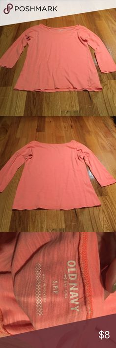 Coral three-quarter length shirt Coral three-quarter length shirt (color brighter than appears in pictures) -Excellent condition  -size small --------------------------------------- -will negotiate  -If you have any questions just ask me Old Navy Tops Tees - Long Sleeve