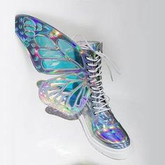 Phantom silver butterfly Wings Strap Boots - OhiChiic - Contemporary Women's Shoes at Affordable Prices Butterfly Shoes, Butterfly Wings, Cute Shoes, Me Too Shoes, Women's Shoes, Unique Shoes, Shoes Sneakers, Flat Shoes, Wing Shoes