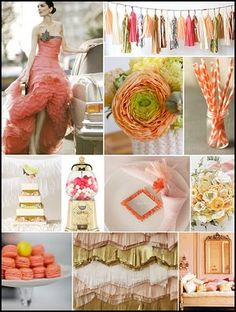 Camille Styles __Vivid shades of tangerine & papaya pop against pale peach and subtle grey Inspiration Boards, Color Inspiration, Fancy Houses, Palette, Colorful Party, Colour Board, Looks Style, Spring Colors, Vintage Colors