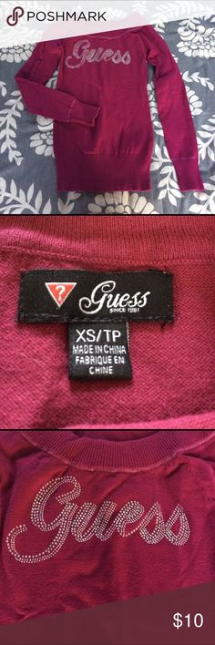 Women's guess cardigan Perfect condition 👌🏻 guess XS. Beautiful burgundy color Sweaters Cardigans
