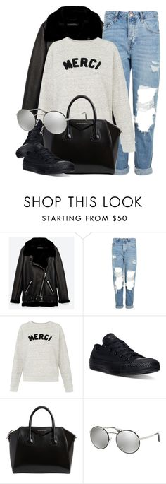 """""""Merci"""" by smartbuyglasses-uk ❤ liked on Polyvore featuring Jakke, Topshop, Whistles, Converse, Givenchy, Prada and casual"""