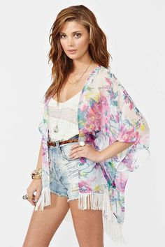 Floral Fringe Kimono