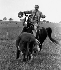 President Johnson on his horse Lady B at his ranch near Stonewall, Texas, on Nov. 4, 1964.