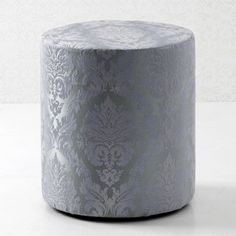 upholstered stool amethyst/silver