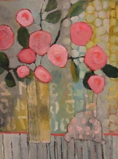 """Contemporary Abstract Still Life Flower Art Painting """"Sunday Morning"""" by Santa Fe Artist Annie O'Brien Gonzales-"""