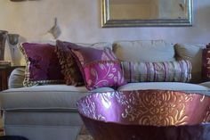 Plum Purple decorative pillows for an Interior Design Project from Jane Hall Design.