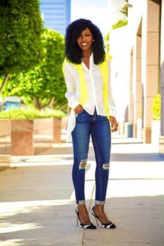 @Karen Darling Pantry Neon Sweater + Asymmetrical Shirt + Distressed Skinnies