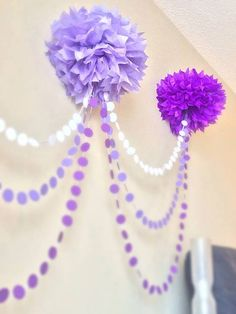 Ombre Pom Pom Garland great for a baby showe or a little girl birthday party Lila Party, Festa Party, Girl Birthday, Birthday Parties, Birthday Ideas, 21st Birthday, Mardi Gras Carnival, Pom Pom Garland, Tulle Poms