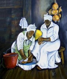 Matthew 20:28  Jesus shows us how to be servants to others.  Serving others is more important than gaining wealth, power or position.  The washing of feet of others is an act of humility.  Those whose feet are to be washed must also humble himself by allowing the person to serve him.  (Art by Annie Lee)
