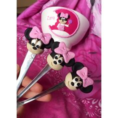 Polymer clay handmade homemade minnie mouse disney spoon cereal bowl collection pink girl children