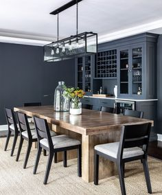 Dinning Room Bar, Dining Room Design, Rustic Dining Rooms, Cabinets In Dining Room, Kitchen Hutch, Design Desk, Dining Tables, Kitchen Dining, Bar Lounge