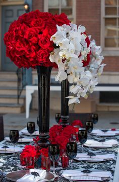 """A David Tutera """"Sweet 16"""" birthday party for China McClain. Red, white and black color decor."""