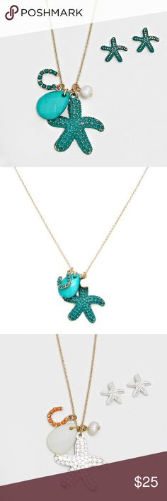 """Starfish Necklace + Earring Set • Necklace Size : 16"""" + 3"""" L • Pendant Size : 1"""" X 1"""" • Earrings Size : 1/2"""" L • Textured Starfish Pendant Charm Necklace Jewelry Necklaces"""