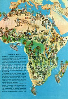 Pictorial Peoples of Africa Illustrated Maps, Pictorial Maps, Class Projects, Jamaica, Islands, City Photo, How To Draw Hands, Illustration, People