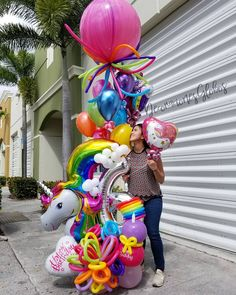 50 Ideas Birthday Balloons Bouquet Mickey Mouse For 2019 Balloon Tower, Balloon Columns, Balloon Garland, Balloon Centerpieces, Balloon Decorations Party, Birthday Decorations, Unicorn Birthday Parties, Birthday Balloons, Unicorn Party