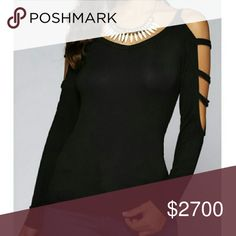 Black Cutout Sleeve Top Lovely top with cut out sleeves in black. Rayon and Spandex material.   XSmall - Bust: 30.71, Waist: 25.98, Length: 18.50, Sleeves: 11.02 inches  Small - Bust: 32.28, Waist: 27.56, Length: 18.90, Sleeves: 11.42 inches  Medium - Bust: 33.86, Waist: 29.13, Length: 19.29, Sleeves: 11.81 inches   Large - Bust: 35.43, Waist: 30.71, Length: 19.68, Sleeves: 12.20 inches Tops Tees - Long Sleeve