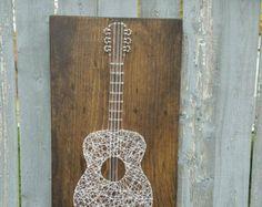 Custom Wood Guitar String Art Music Home Decor by hwstringart