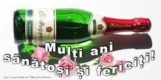 La multi ani! Plant Decor, Red Wine, Alcoholic Drinks, Champagne, Happy Birthday, Bottle, Indoor, Flowers, Happy Brithday