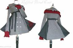 Ruffled Floral Sweater Coat M/L