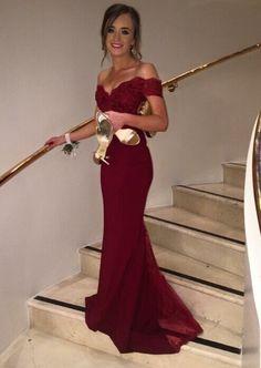 2016 New Fashion  Satin ushers Dark Red   Mermaid Long Cap Sleeve Boat Neck Lace Backless Evening Dresses Bridesmaid Dress
