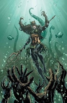 Bryce Wayne is the Batwoman of Earth -11. When her world was consumed by a war with Atlantis, she mutated her own DNA with Atlantean samples to become a hybrid being powerful enough to defeat all metas and bring the ruined world under the control of her army of Dead Waters.
