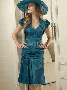 Sheath/Column V-neck Taffeta Knee-length Prom Dress at Millybridal.com