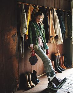 Floral jeans, thick socks, winter boots. (photo by Kim Myers Robertson, Lucky Magazine, February 2010)