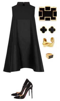 black and gold featuring Alexander McQueen, Sondra Roberts, Devon Leigh, Van Cleef & Arpels, Christian Louboutin and Aurélie Bidermann Fashion Mode, Look Fashion, Womens Fashion, Fashion Trends, Feminine Fashion, Fashion News, High Fashion, Classy Outfits, Chic Outfits