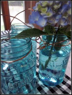 Painting Blue Mason Jars