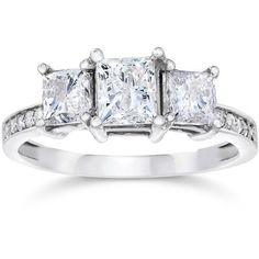 2ct Three Stone Princess Cut Diamond Engagement Ring 14k White Gold ($1,800) ❤ liked on Polyvore featuring jewelry, rings, white, diamond rings, round cut engagement rings, square cut diamond ring, princess cut diamond rings and white gold rings