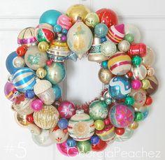 Retro Wreath *Love old shiny retro ornaments!  Reminds me of Grandma's house!