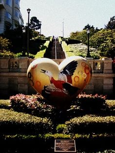 San Francisco Hearts - This is something you'll see if you walk way into the heart of the Pacific Heights area...there's a pretty long/steep stairway that goes up to the best view. My mom and I used to walk up this thing a lot.
