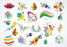 Красочный логотип дизайн элементы набора векторов