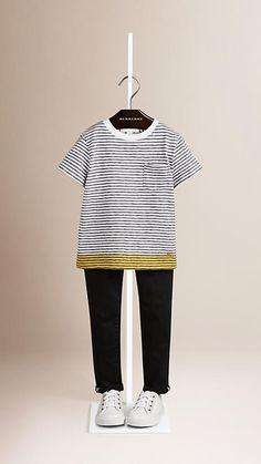 Cornflower yellow Contrast Hem Striped Cotton T-shirt - Image 1