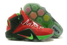 lowest price ff869 43b3b WMNS LeBron 12 GS For6iven Wine Red Hot Red Electric Green Black Cheap Nike  Running Shoes