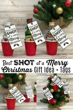 Best SHOT at a Merry Christmas – Fun Alcohol Gift Idea! Includes these printa… Best SHOT at a Merry Christmas Christmas Projects, Holiday Crafts, Holiday Fun, Christmas Holidays, Merry Christmas, Christmas Ornaments, Christmas 2019, Christmas Party Favors, Christmas Gift Craft Ideas