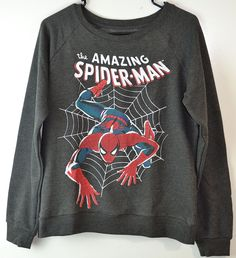 Marvel Spiderman Print Sweatshirt This a License Marvel/Spiderman Women Sweatshirt. Color Charcoal. Size S-M-L Fabric Content: 60% Cotton/40% Polyester.