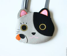 Купить Сумочка Котик из фетра - комбинированный, рисунок, котик, кот, кошка, сумка кошка, кошечка