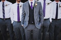 All different patterns of purple ties