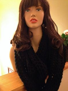 Crocheted Infinity Scarf Black. (can be made in most colors). 30.00 https://www.facebook.com/dawnsfashionaccessories
