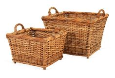 French Country Hearth Baskets, Natural, These classic rattan storage bins are inspired by the basketry found in the rural marketplaces and country homes throughout the wine-producing regions of France, northern Spain, and northern Italy. French Country Cottage, French Country Decorating, Country Homes, Maine Cottage, Top Country, Cottage Decorating, Country Living, Country Style, Basket Shelves