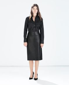 Image 1 of SYNTHETIC LEATHER PENCIL SKIRT from Zara