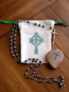Prayer Bag Celtic Cross a hand stamped bag for rosary mala or other prayer beads.